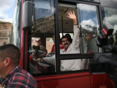President Maduro has frequently touched on his working class, bus-driver roots by taking to the wheel of a SITSSA bus